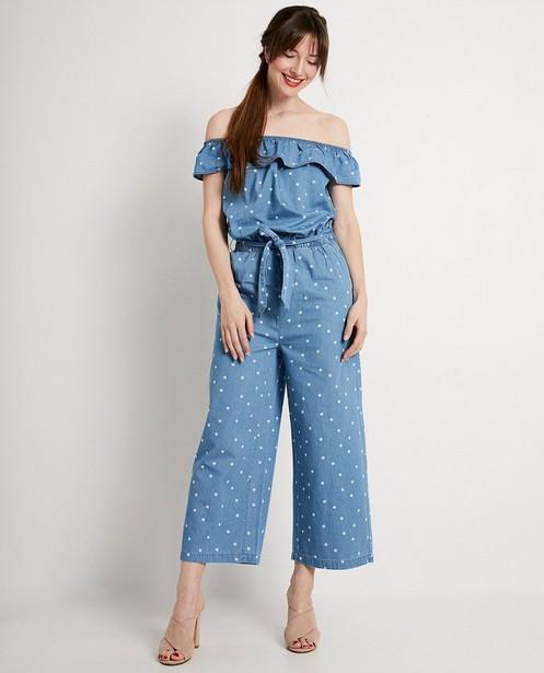 Blauw jumpsuit met print - in jeanslook - JBC