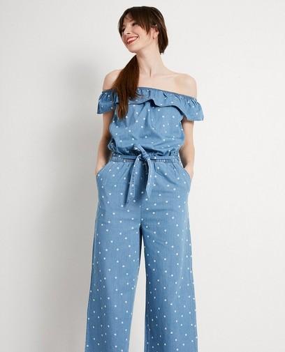 Blauw jumpsuit met print