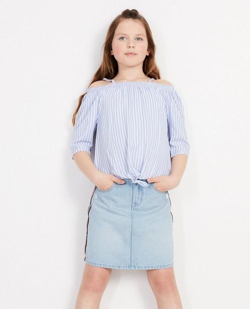 e4b1f01d9e0 Blauwe off-shoulder blouse allover gestreept JBC | JBC België
