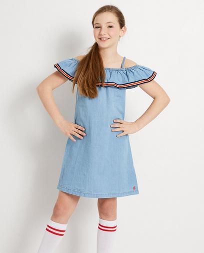 Lichtblauwe off-shoulder jurk