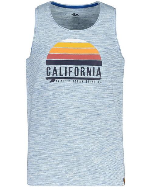Top bleu, imprimé «California» - et inscription - JBC
