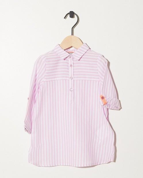 Robe-chemisier blanche et rose - imprimé intégral - JBC