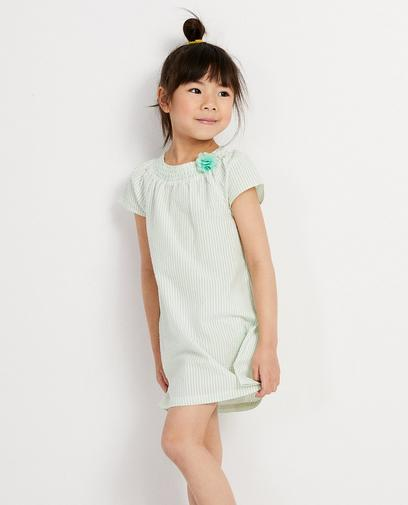 Wit jurkje met groene strepen