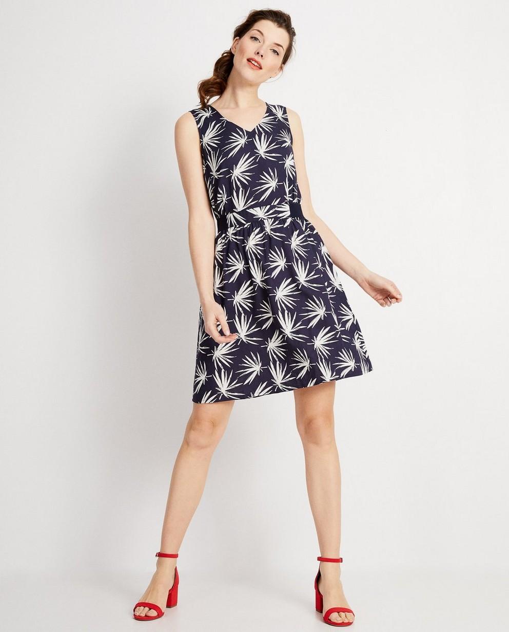Donkerblauwe jurk met print - allover witte print - JBC