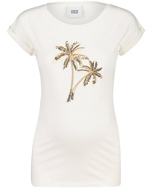 T-shirt blanc, imprimé Mamalicious - imprimé à paillettes - mali
