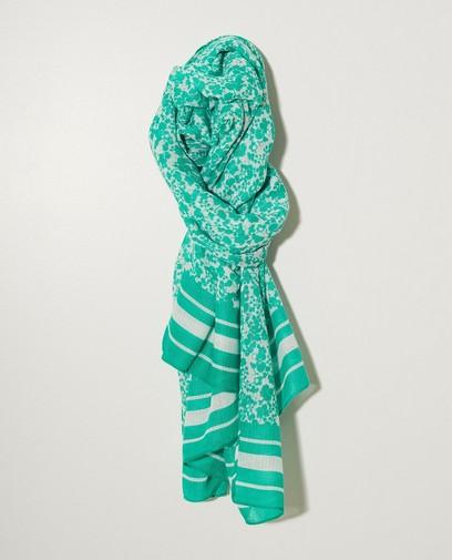 Groene sjaal met witte print Pieces