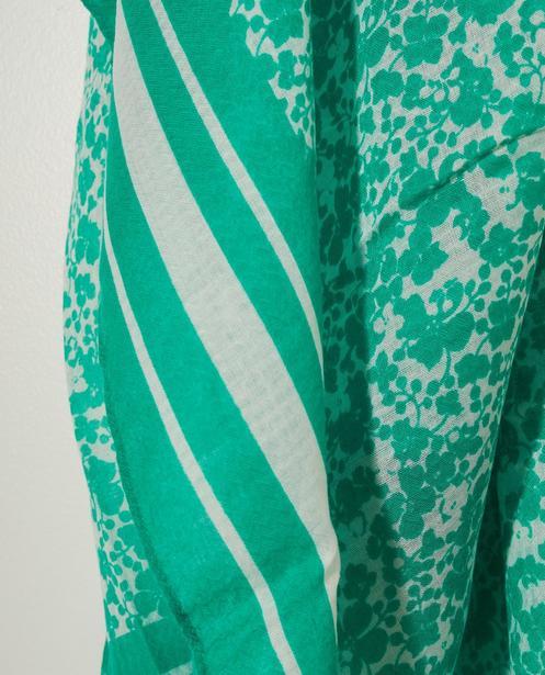 Bonneterie - green - Écharpe verte, imprimé Pieces