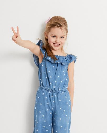 lichtblauwe jumpsuit met print