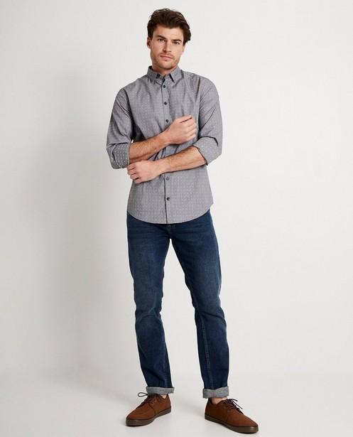 Grijs hemd met witte print - allover - JBC