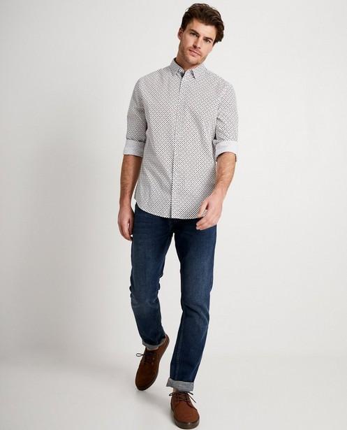 Wit hemd met plusjesprint  - in bruin en blauw - JBC
