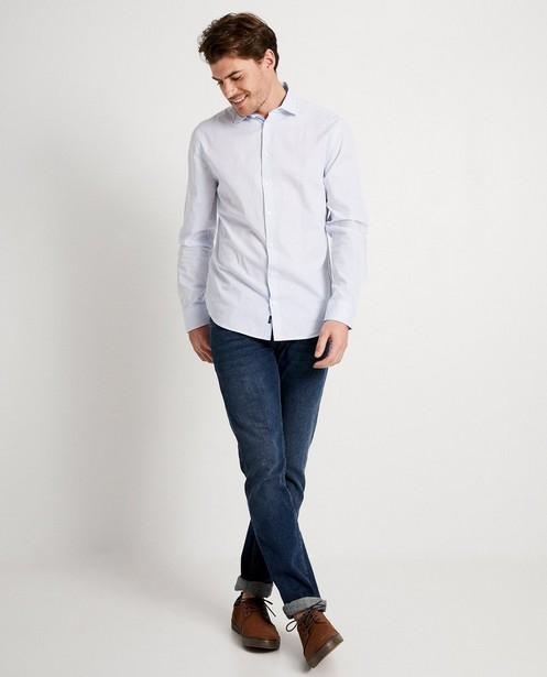 Donkerblauw hemd met witte print - allover - JBC