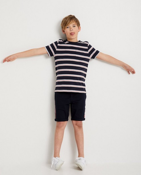 T-shirt bleu, 7-14 ans, rayures - sur toute la surface - JBC