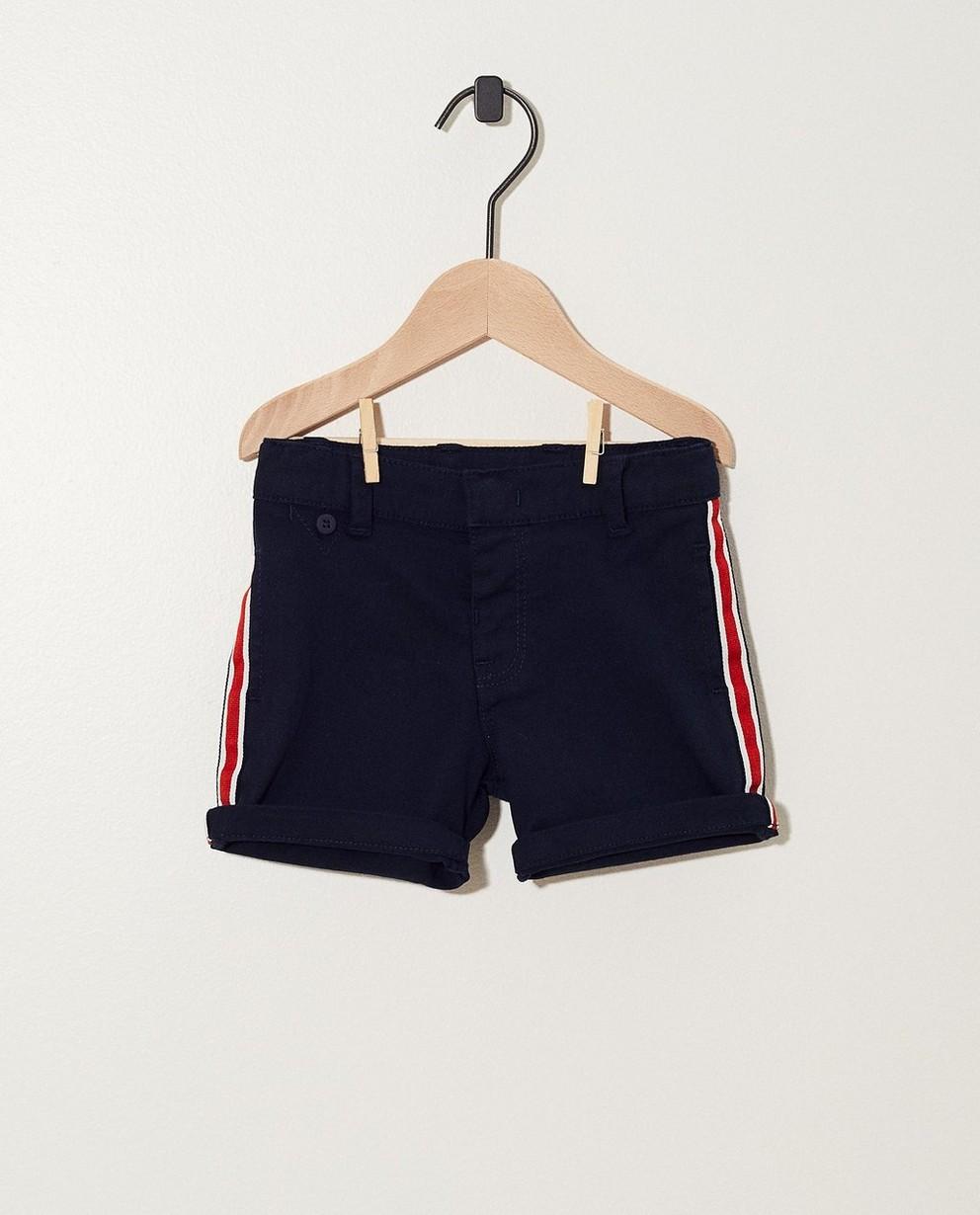 Short bleu foncé, rayure rouge - rayures blanches - JBC