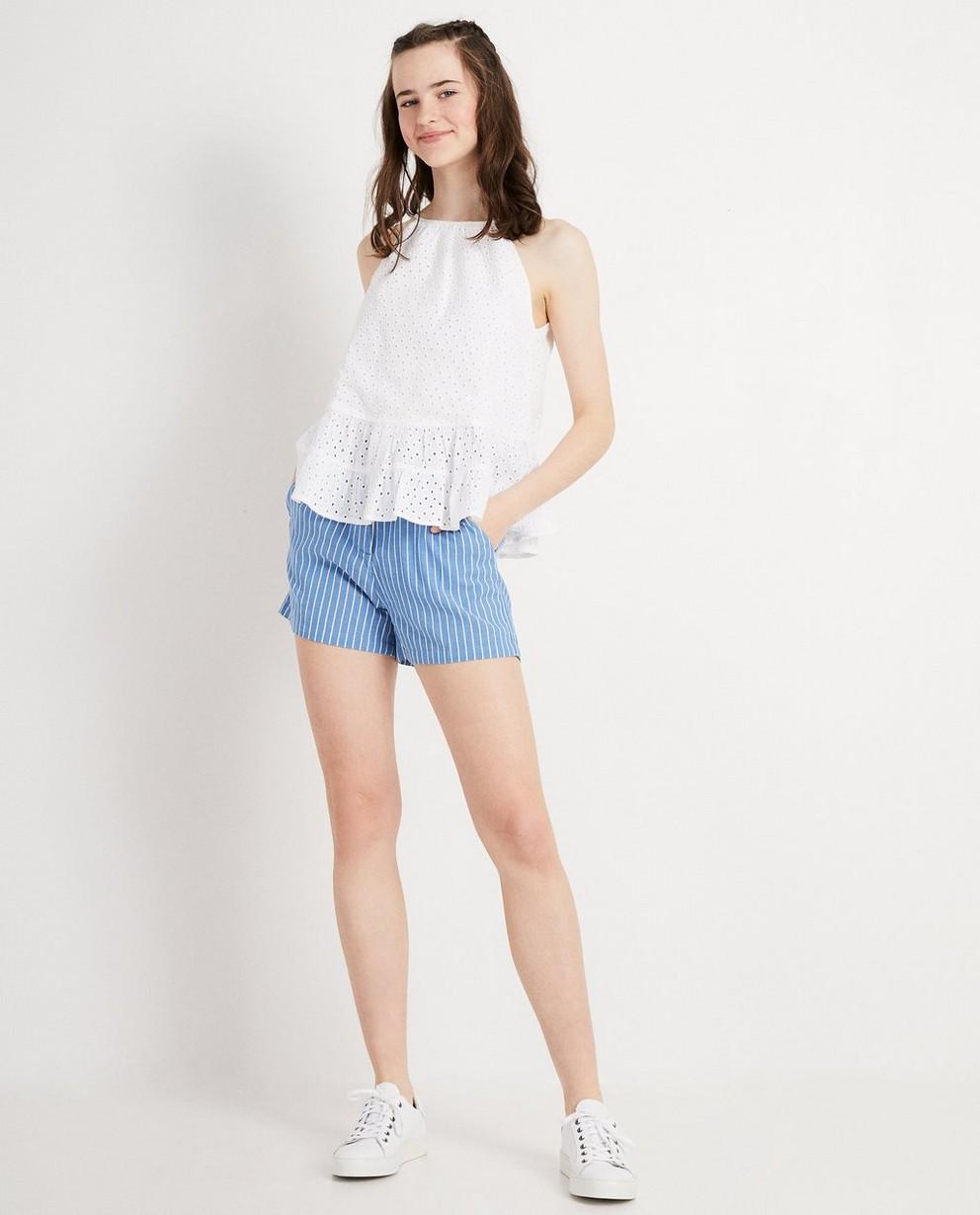 Lichtblauwe short met strepen - pin stripes - Groggy