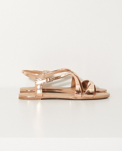 Vegan sandalen met metallic look