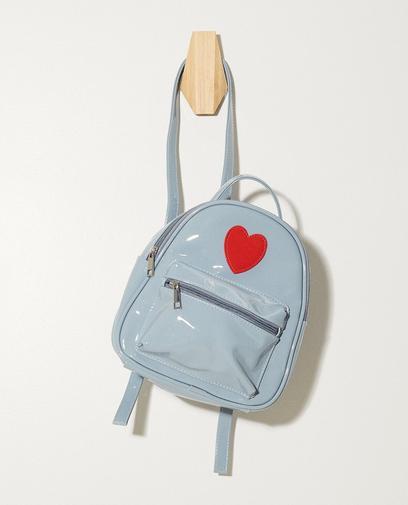 Glänzend blauer Rucksack mit Herz