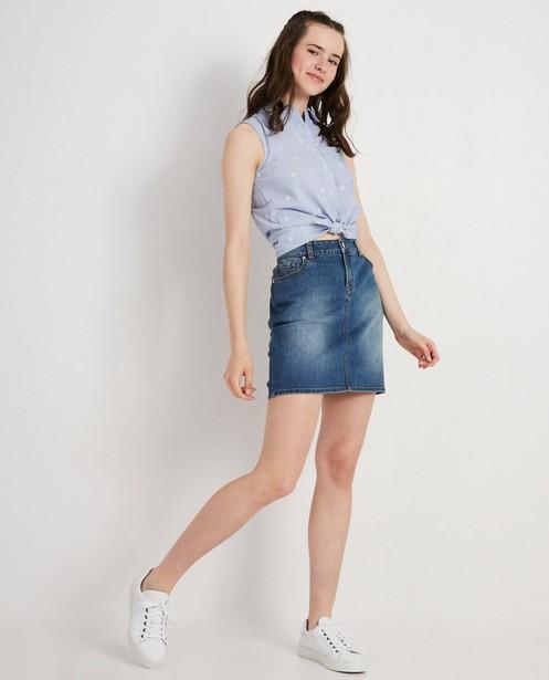 Chemise bleue à rayures blanches - et palmiers brodés - Groggy