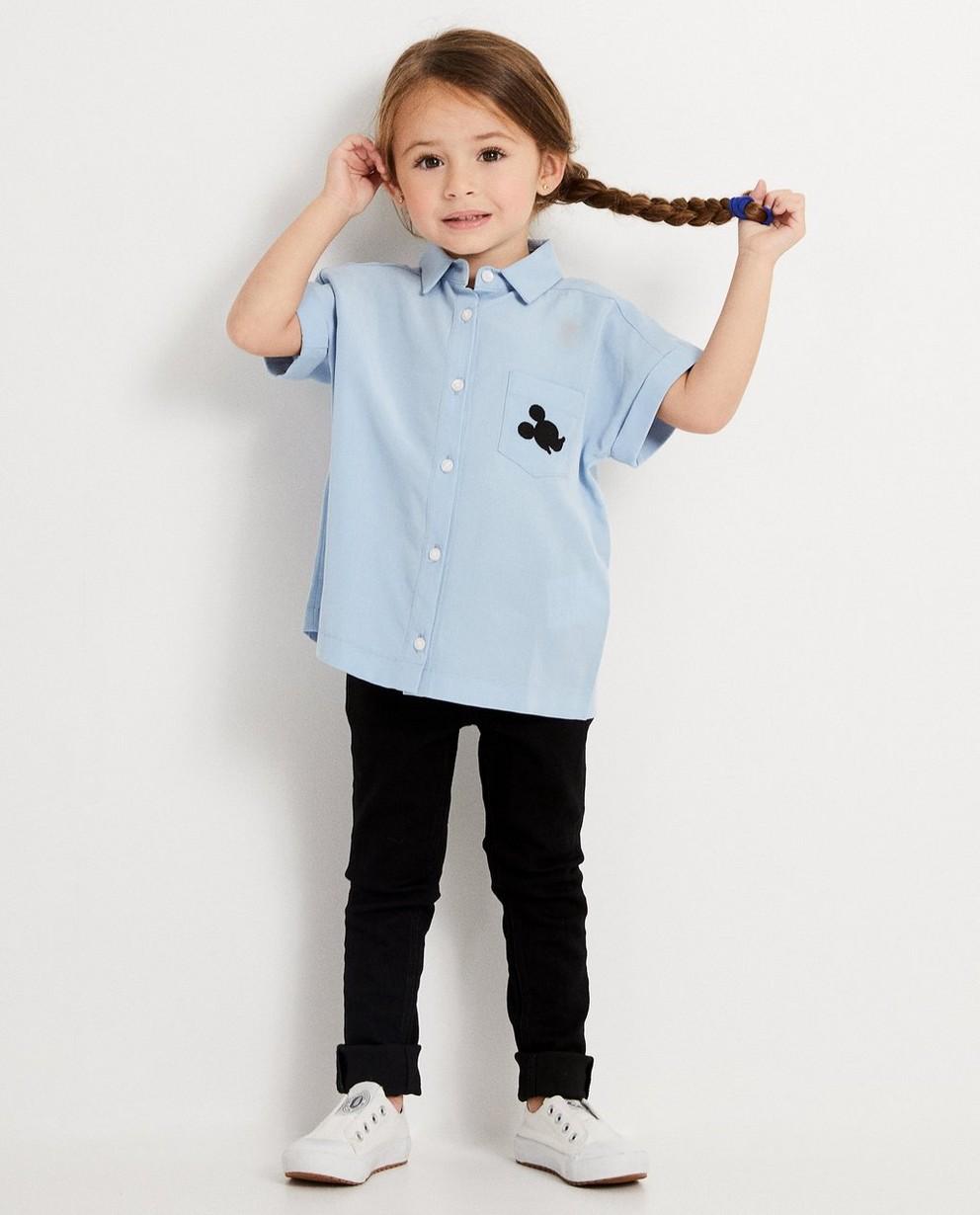 blauw hemdje van lyocell Mickey - met geborduurde Mickey - Mickey