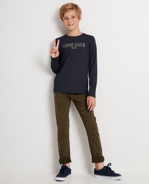 T-shirt bleu à manches longues - imprimé, coton bio - JBC