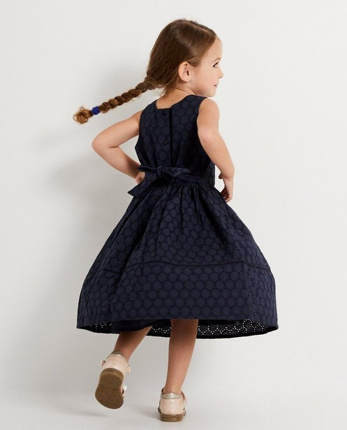 Donkerblauwe jurk Samson - met broderie anglaise - Samson