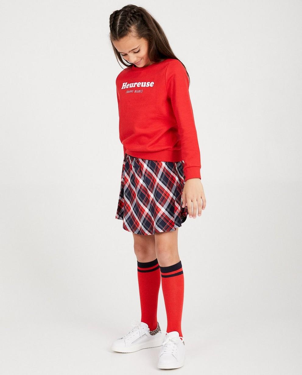 Jupe bleue, imprimé BESTies - carreaux rouges - Besties