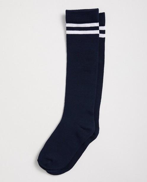Mi-bas bleu foncé - rayures blanches - JBC