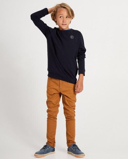 Donkerblauwe sweater BESTies - met witte streep - Besties