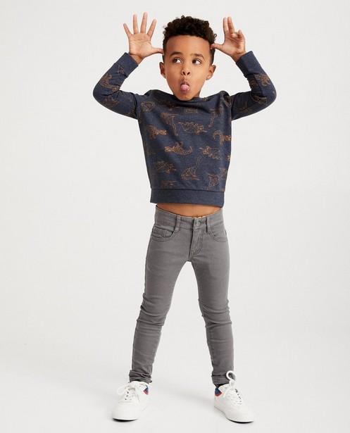 Donkergrijze sweater BESTies - met geometrische dino's - Besties