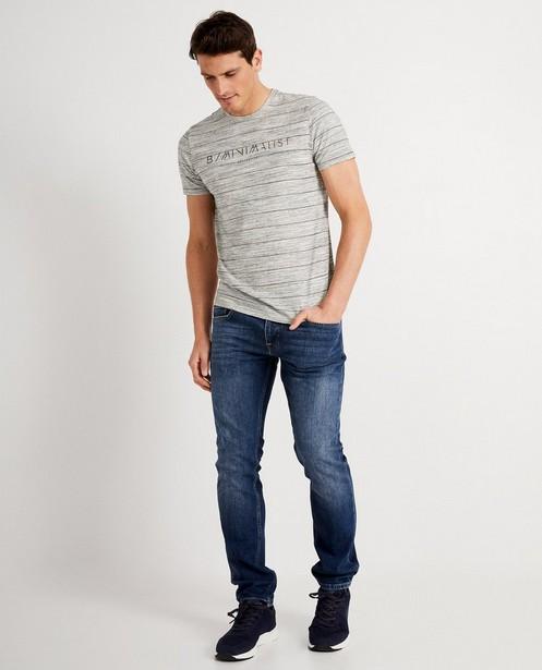 T-shirt gris à inscription - chiné - JBC