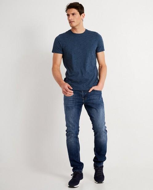 T-shirt bleu à imprimé - chiné - JBC