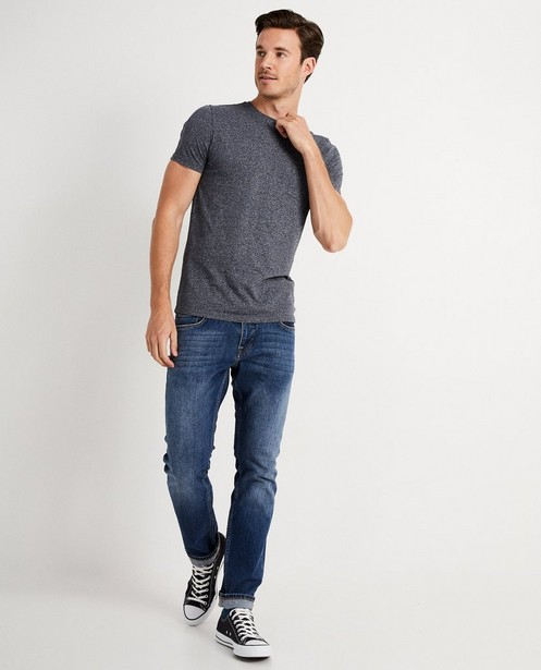 T-shirt bleu foncé en coton bio - chiné - JBC