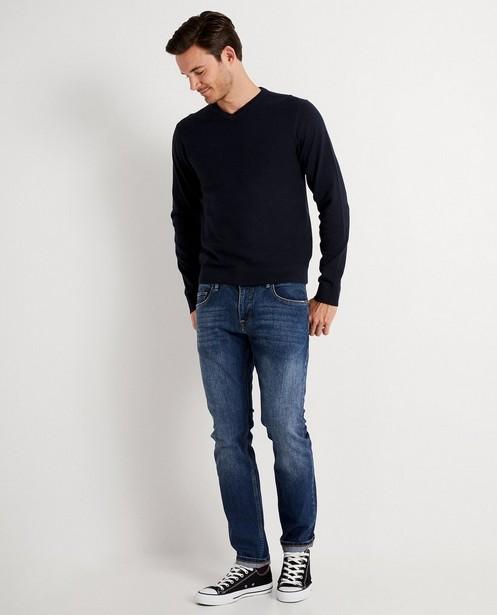 Donkerblauwe sweater met reliëf - op de romp - JBC