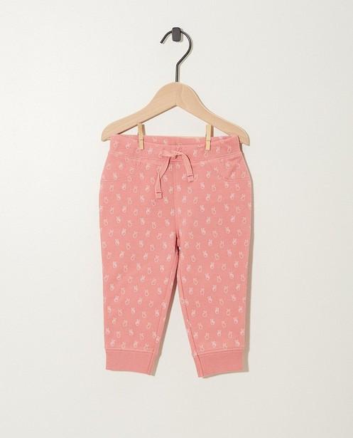Pantalon rose molletonné - coton bio et imprimé - JBC