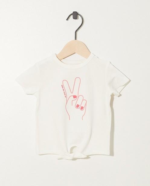 T-shirt blanc avec imprimé - et bouton à la base - JBC