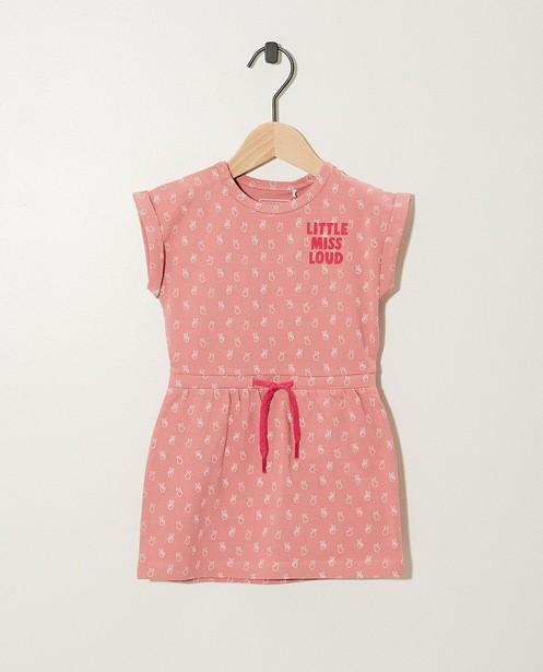 Robe rose, imprimé de signes peace - intégral - JBC