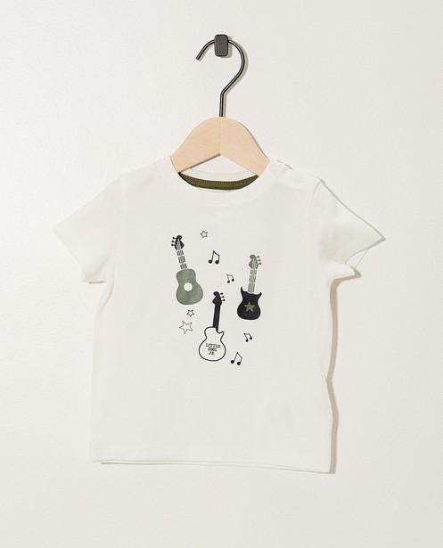 T-shirt blanc en coton bio - imprimé de guitare - JBC