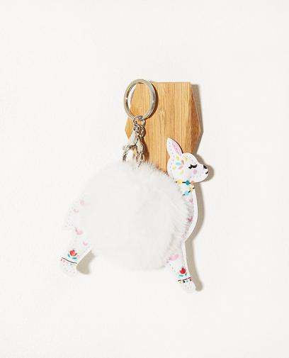 Zachte witte lama-sleutelhanger