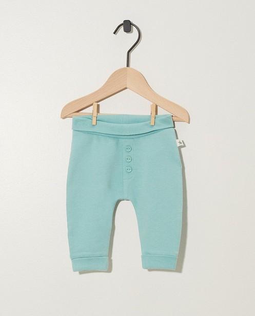 Pantalon évolutif en coton bio - blanc et bleu vert - Newborn