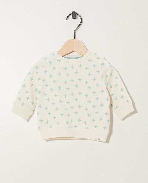 Witte sweater van biokatoen - met print - Newborn
