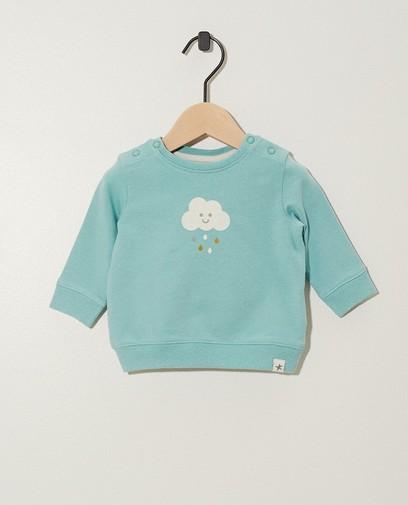 Blauwgroene sweater van biokatoen