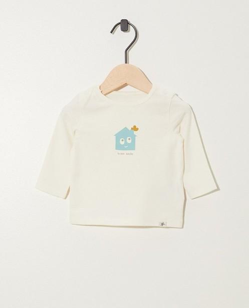 T-shirt blanc à manches longues - imprimé et inscription - Newborn