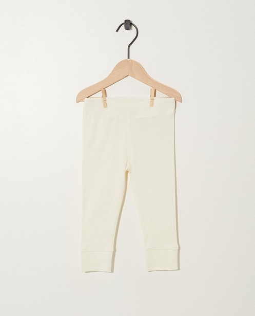 Leggings blancs en coton bio - relief côtelé - Newborn