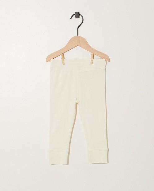 Witte legging van biokatoen - met ribreliëf - Newborn