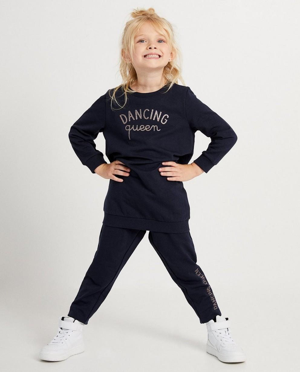 Marineblauwe sweaterjurk BESTies - met glitter opschrift - Besties