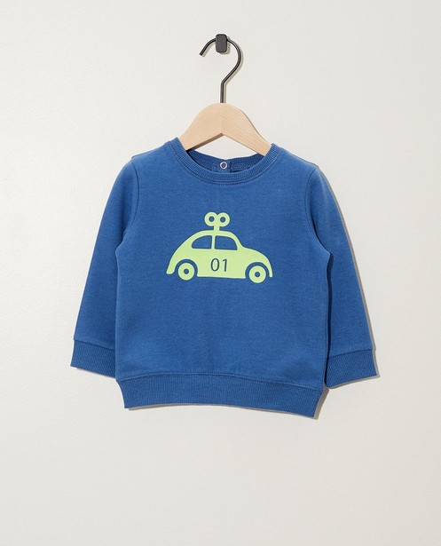 Blauwe sweater met print BESTies - allover - Besties