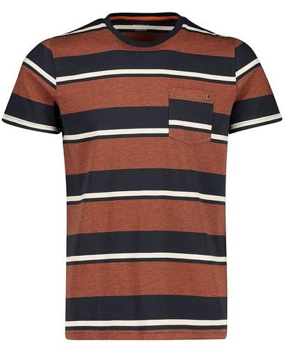 T-shirt brun, rayures