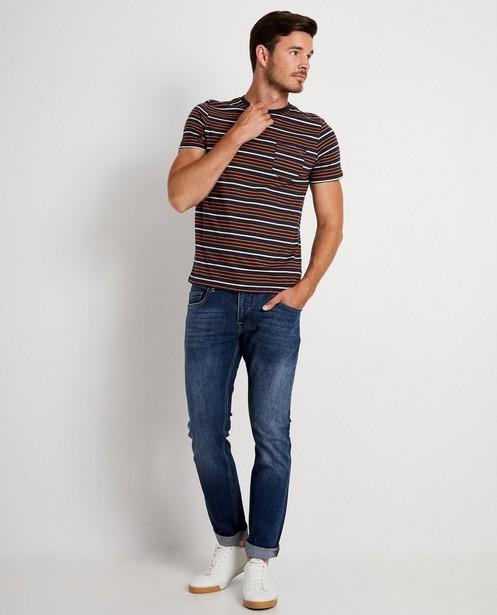 T-shirt bleu foncé, rayures - orange et blanches - JBC