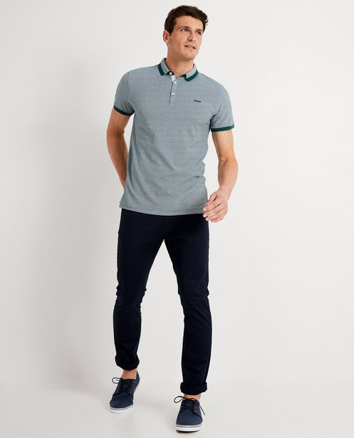 Donkerblauwe polo met microprint - allover - Iveo