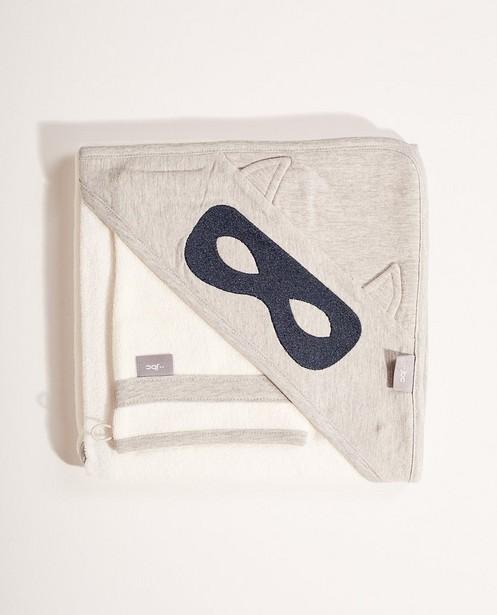 Set badcape en washandje - In grijs - JBC
