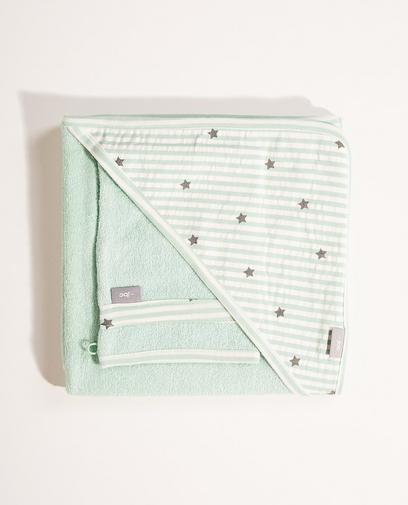 Grünes Set Badecape und Waschlappen